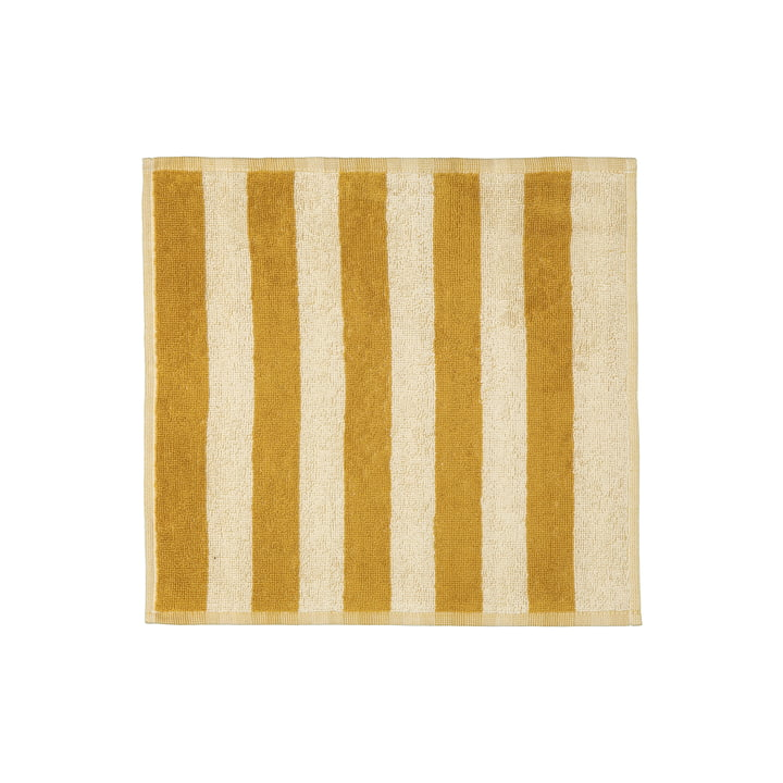 Le site Kaksi Raitaa Mini serviette 30 x 30 cm, ocre / blanc cassé de Marimekko