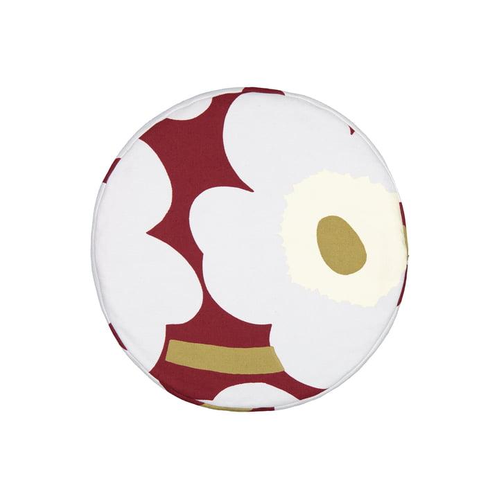 Le coussin Unikko Ø 43 cm, rouge foncé / gris clair / blanc cassé de Marimekko