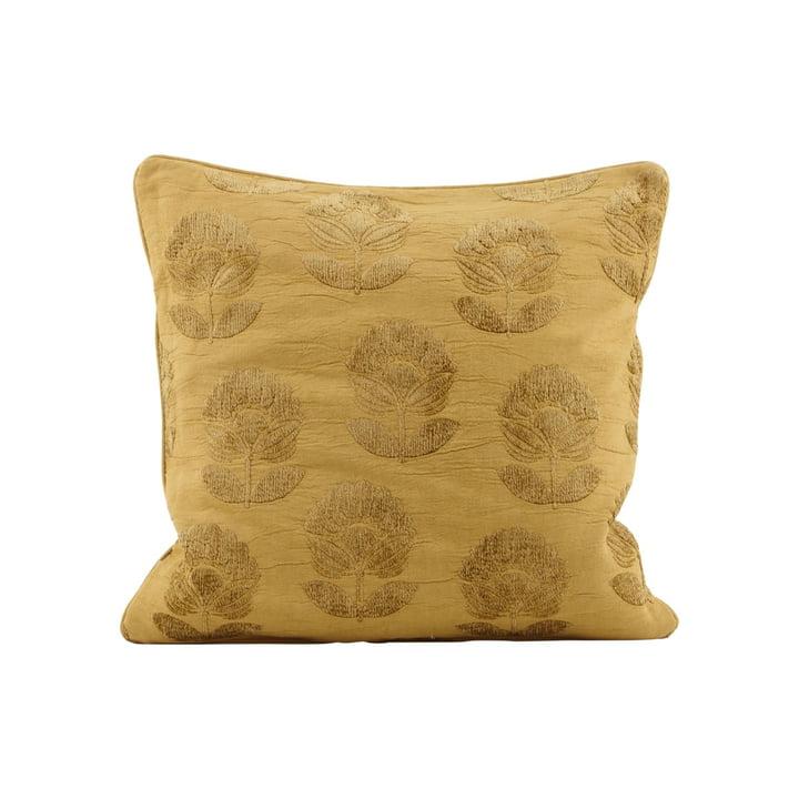 Velv 50 x 50 cm, motif fleur / jaune moutarde par House Doctor