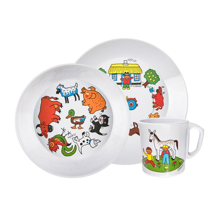 Service de vaisselle pour enfants Farm, blanc (3 pièces) de Rosti