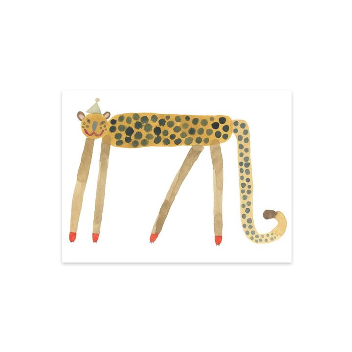 Affiche pour enfants avec des animaux, Léopard souriant Elvis, 40 x 30 cm par OYOY