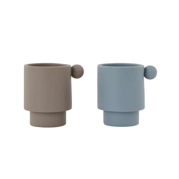 Les gobelets en Tiny Inka silicone, Dusty Blue / Clay (jeu de 2) de OYOY