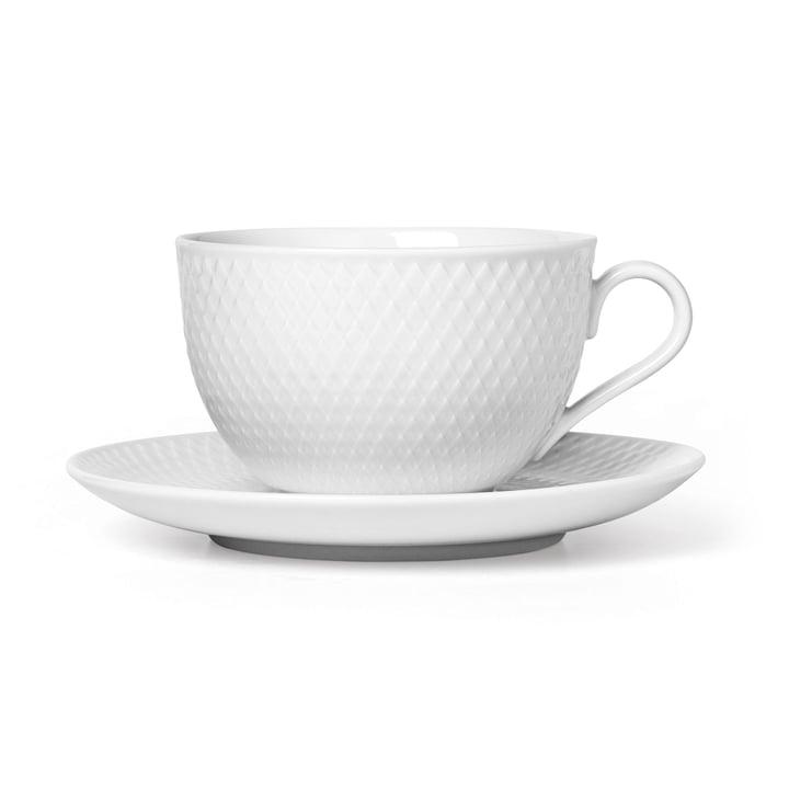 La tasse à thé et la soucoupe Rhombe, 39 cl, blanc de Lyngby Porcelæn