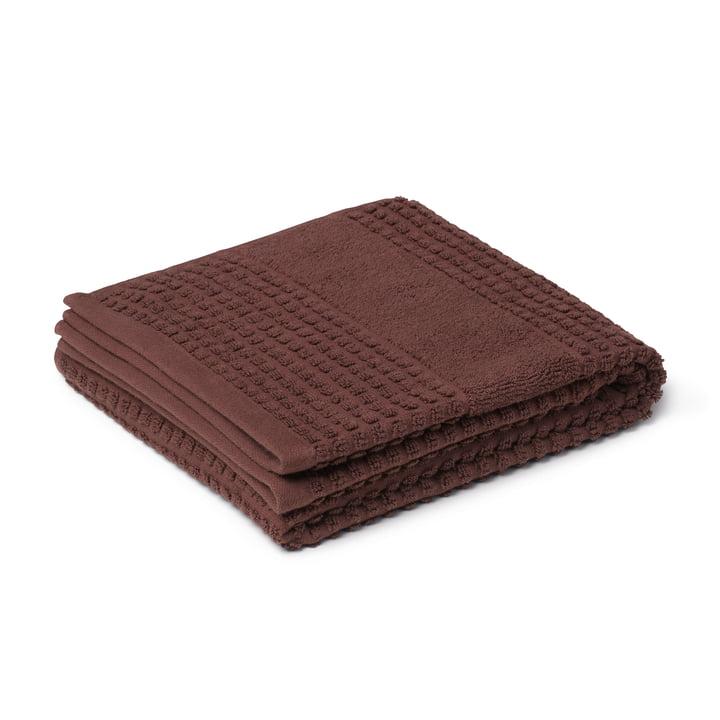 Check Serviette de toilette 50 x 100 cm, chocolat de Juna