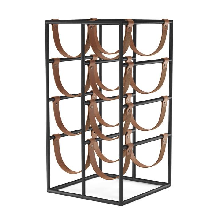 Le casier à vin Umanoff pour 8 bouteilles, acier noir (RAL 9005) / cuir brun de Menu