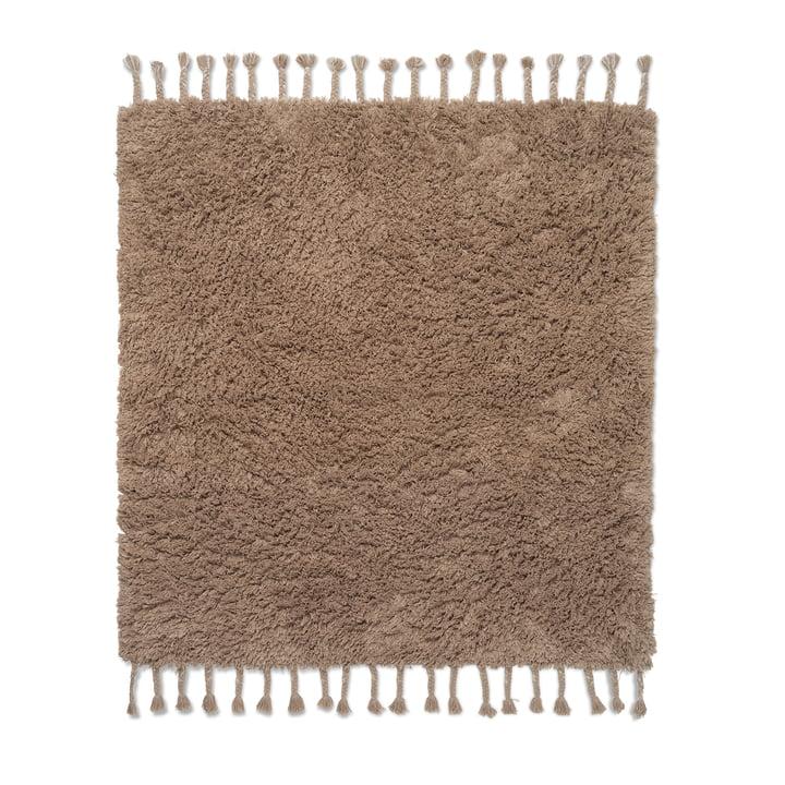 Le tapis à poils longs Amass de Ferm Living in white pepper, 140 x 140 cm