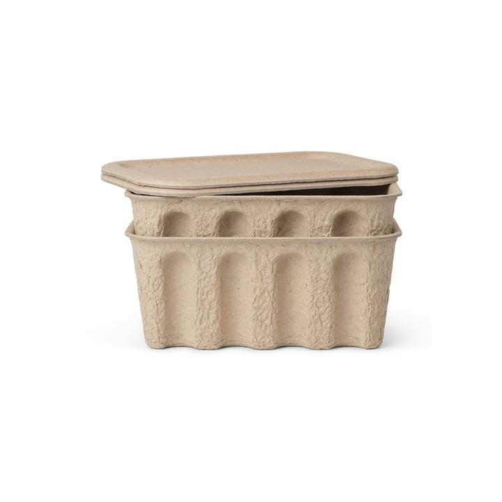 La petite boîte Paper Pulp de ferm Living in brown (lot de 2)