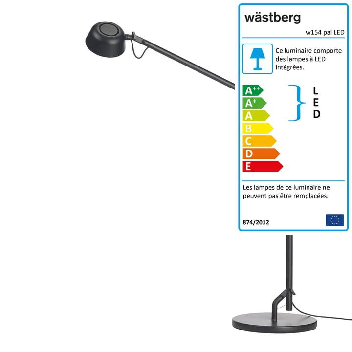 La lampe de table w154 pal LED de Wästberg en noir