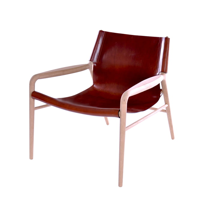 Rama Lounge Chair , chêne savonné / cuir cognac de Ox Denmarq