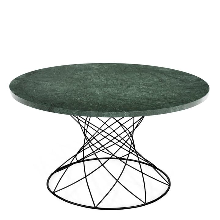 La table basse Merge H 45 Ø 80 cm, noir / marbre vert de Ox Denmarq