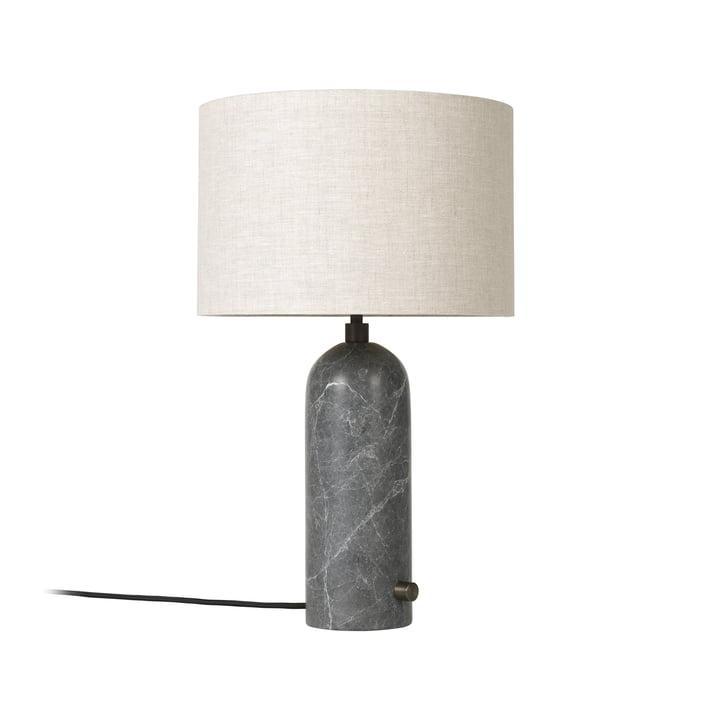 Gubi - Lampe de table Gravity small, toile / marbre gris