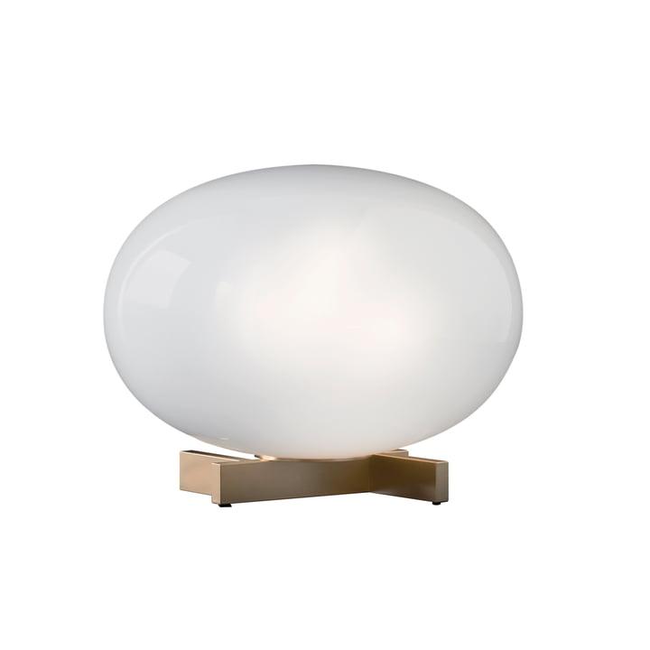 Lampe de table Alba 265, verre opale / laiton par Oluce