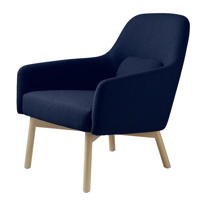 Le fauteuil L33 Gesja de FDB Møbler en chêne naturel / bleu royal