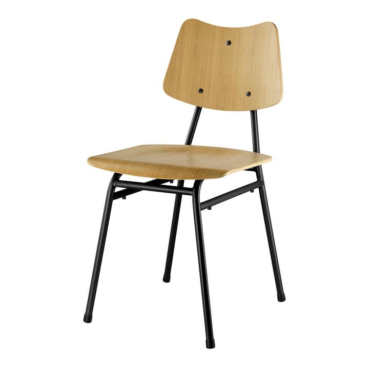 La chaise J173 de FDB Møbler en chêne naturel / noir