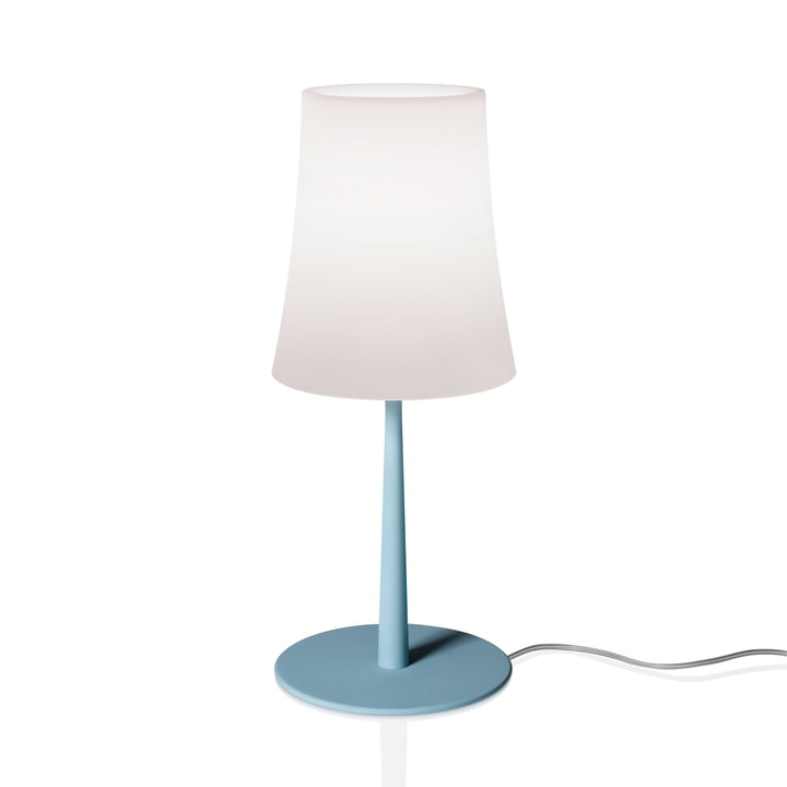 La lampe de table Birdie Easy de Foscarini en bleu azur