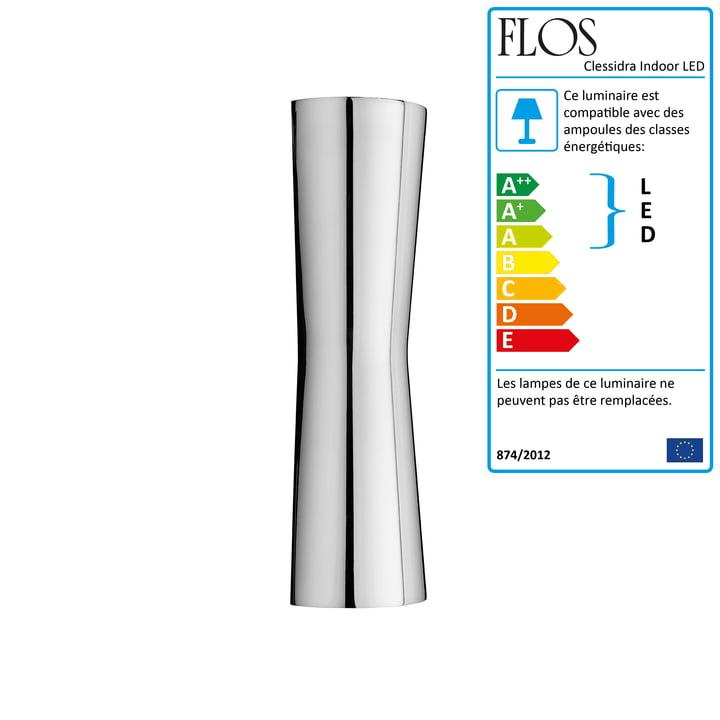 La lampe murale Clessidra Indoor LED 20° de Flos en chrome