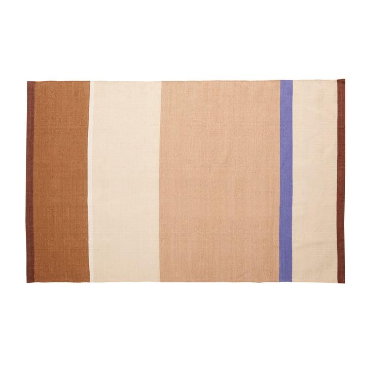 Tapis rayé 120 x 180 cm, beige / sable / marron / bleu de Hübsch Interior