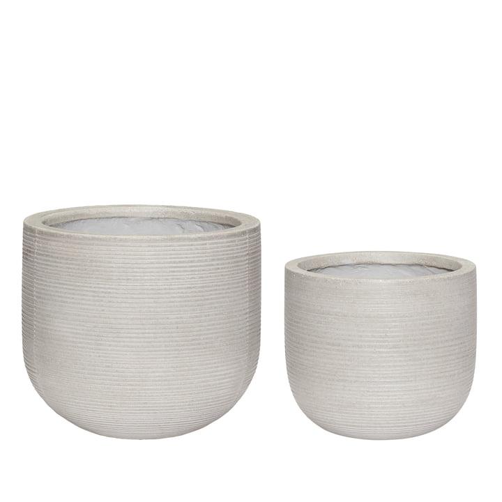 Fiberstone Jeu de 2 pots de plantes, naturels de Hübsch Interior