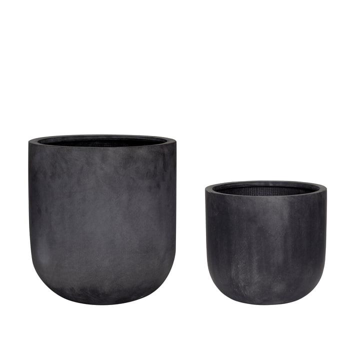 Fiberstone Jeu de 2 pots de plantes, noir de Hübsch Interior