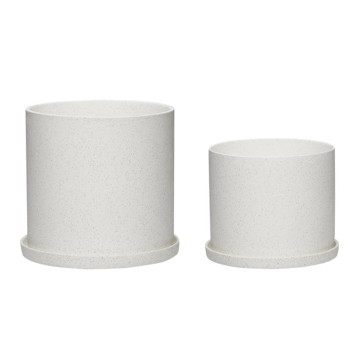 Le set de 2 pots de fleurs de Hübsch Interior en céramique, blanc