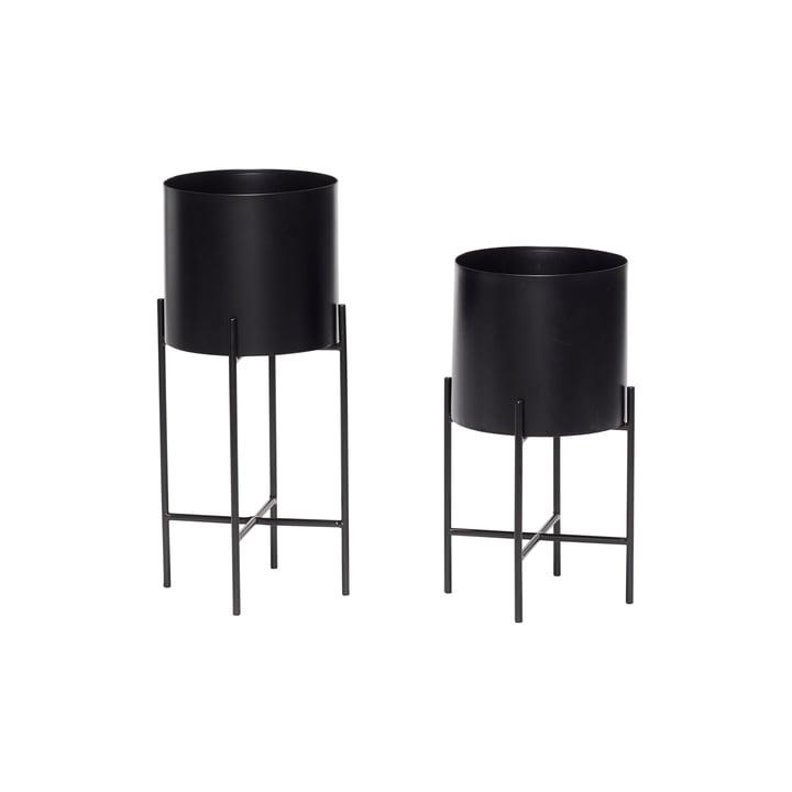 Pot à plantes avec cadre set de 2, noir de Hübsch Interior