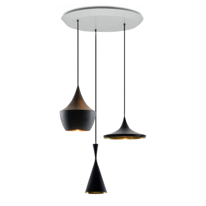 Suspension lumineuse Beat Trio Round de Tom Dixon en noir