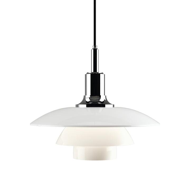 Lampe à suspension PH 3½-3 par Louis Poulsen en chromé brillant