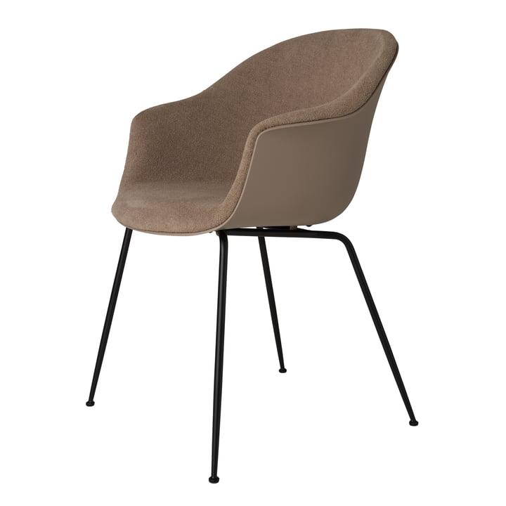 Bat Dining Chaise rembourrée (métal), noir mat / bouclé clair (003) par Gubi