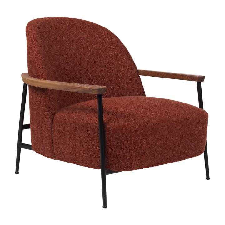 Chaise longue Sejour avec accoudoirs, noir mat / chêne par Gubi