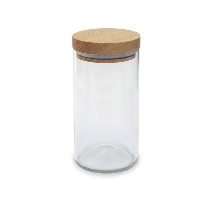 Le verre de stockage de side by side en chêne / verre clair, 450 ml