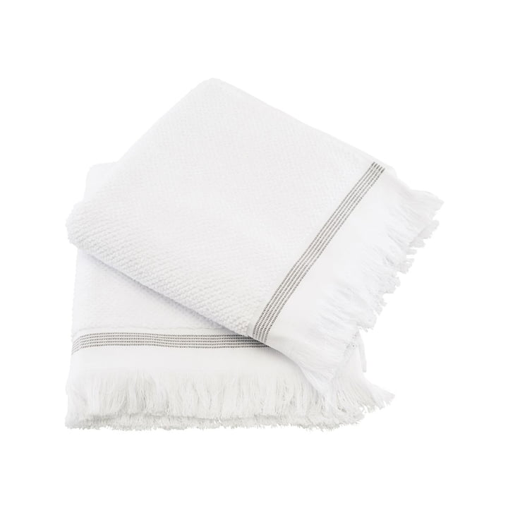 La serviette rayée de Meraki en blanc / gris, 50 x 100 cm (lot de 2)