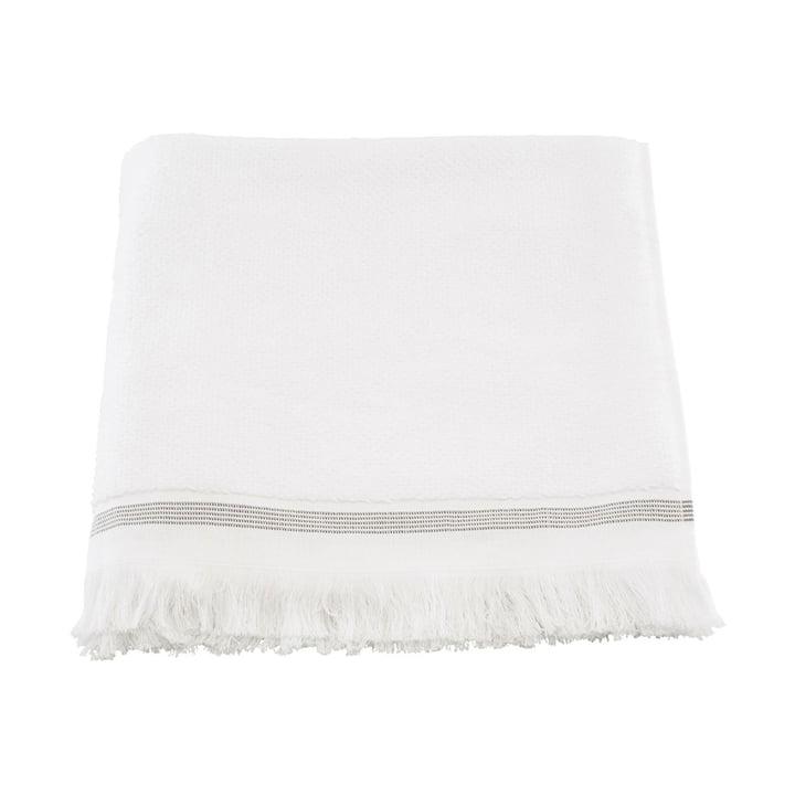 La serviette rayée de Meraki en blanc / gris, 40 x 60 cm (lot de 2)