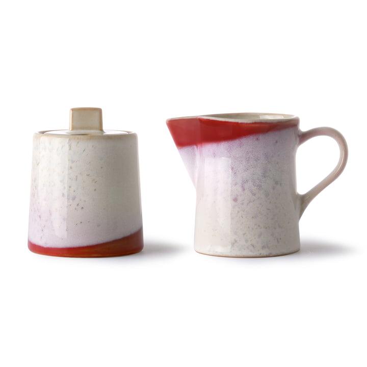 70's Ensemble lait et sucre, céramique, blanc / rouge par HKliving