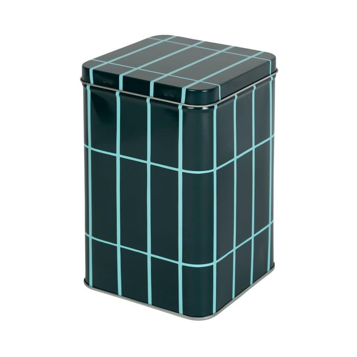 La boîte de rangement Tiiliskivi de Marimekko en vert foncé / turquoise