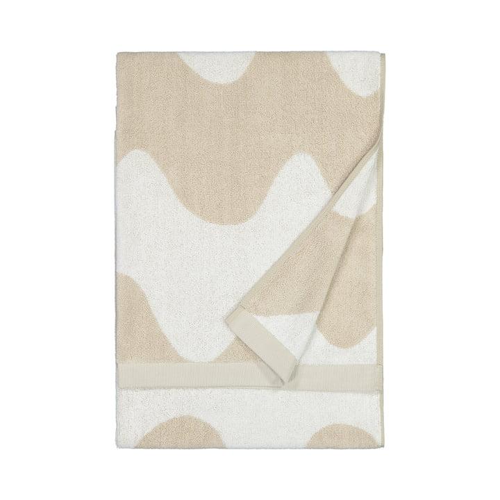 La serviette de bain Lokki de Marimekko en beige / blanc
