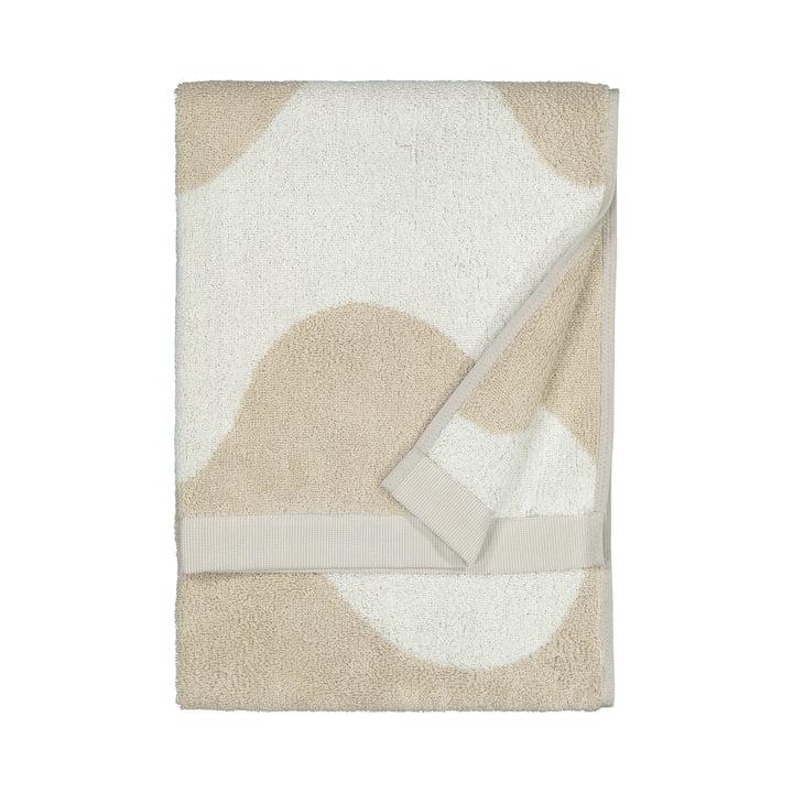 La serviette Lokki de Marimekko en beige / blanc