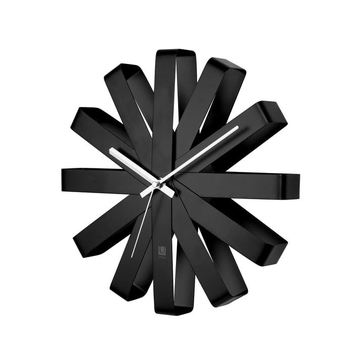 Ribbon Horloge murale, noire de Umbra