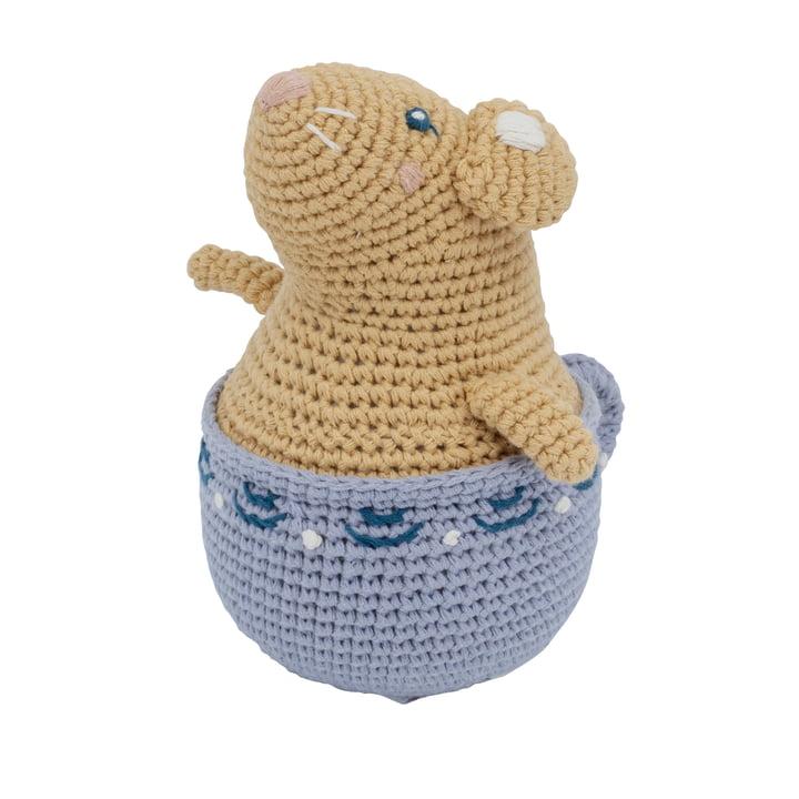 Le roly-poly au crochet de Sebra sous le nom de Bouton d'or la souris en jaune d'heure d'or