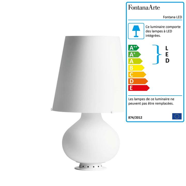La lampe de table Fontana LED par FontanaArte en blanc, Ø 20 cm, H 34 cm