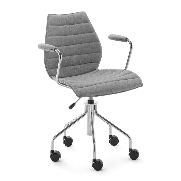 Maui Soft Chaise de bureau avec accoudoirs et roulettes, Noma / gris de Kartell