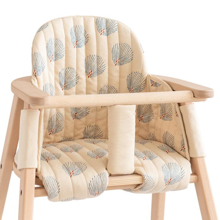 Coussin pour la chaise haute Growing Green de Nobodinoz en bleu gatsby / crème