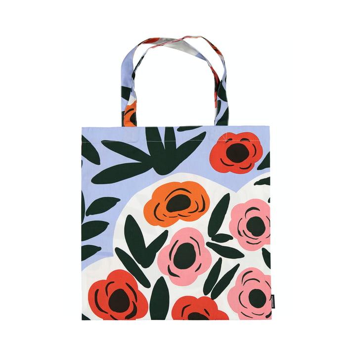 Le sac à provisions Ruukku de Marimekko, bleu clair / rouge / vert foncé