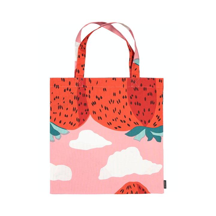 Le sac à provisions Mansikkavuoret de Marimekko, rouge clair / rouge