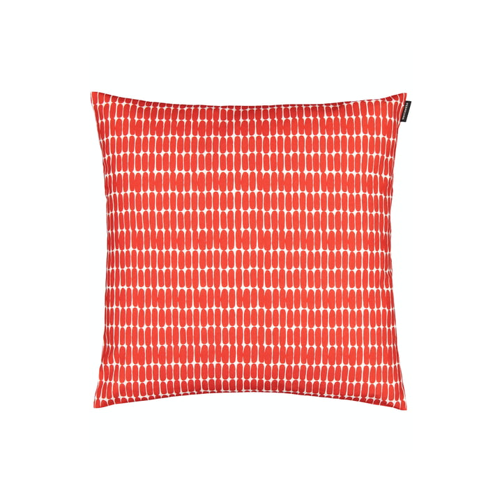 La taie d'oreiller Alku de Marimekko, 45 x 45 cm, blanc / rouge