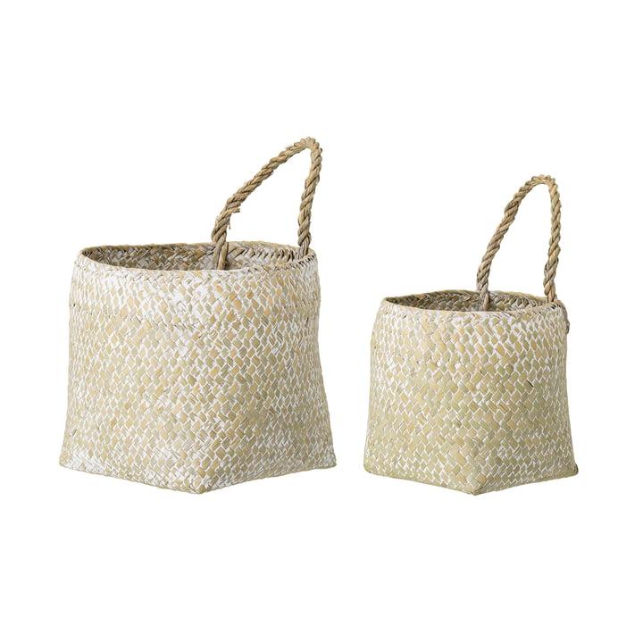 Panier d'herbes marines de Bloomingville en blanc (set de 2)