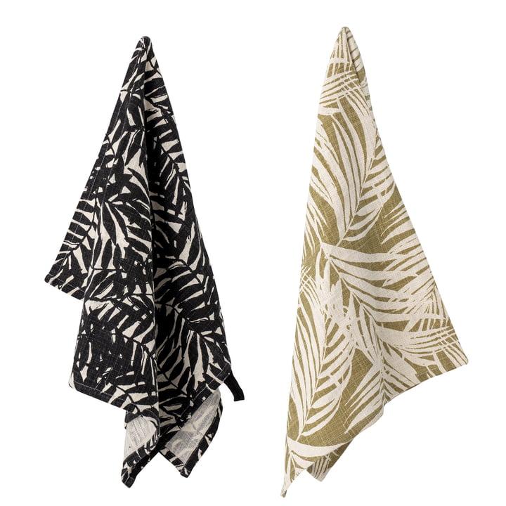 Le torchon Ivora de Bloomingville , 45 x 75 cm, noir / beige (lot de 2)