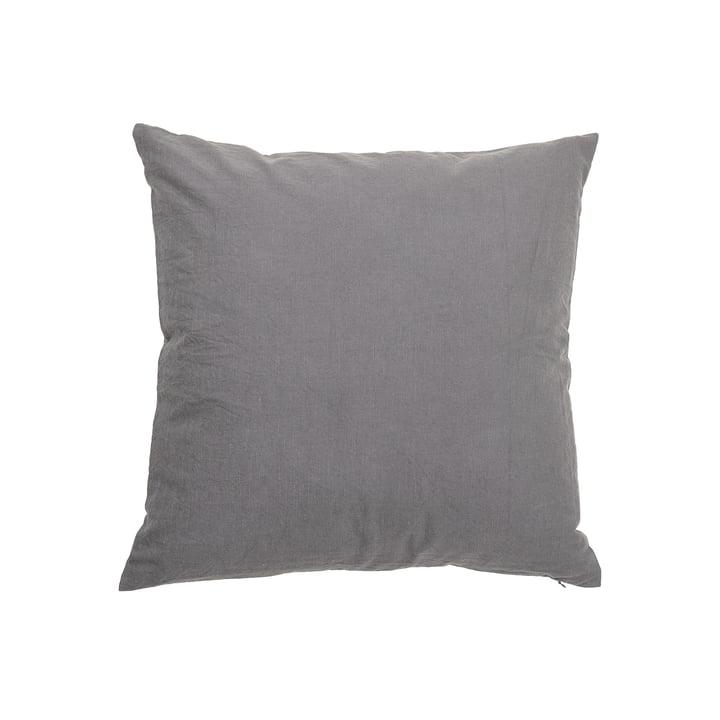 Le coussin Velvet de Bloomingville en gris, 50 x 50 cm