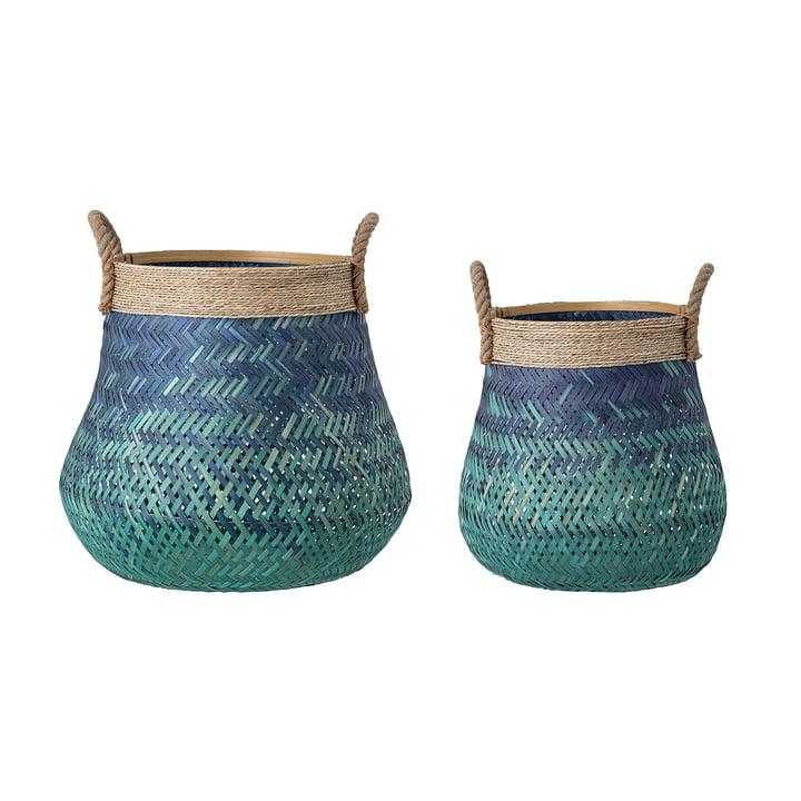 Le panier en bambou de Bloomingville , bleu (ensemble de 2)