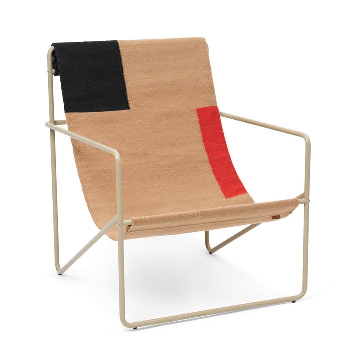 Le Desert Lounge Chair de ferm Living en cachemire / bloc