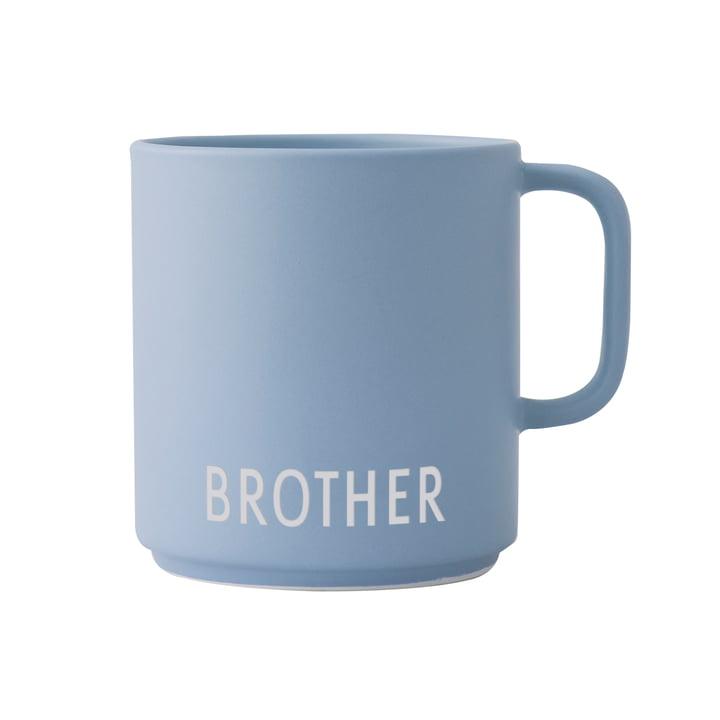 Le mug en porcelaine AJ Mini Favourite avec poignée de Design Letters , Brother / bleu clair
